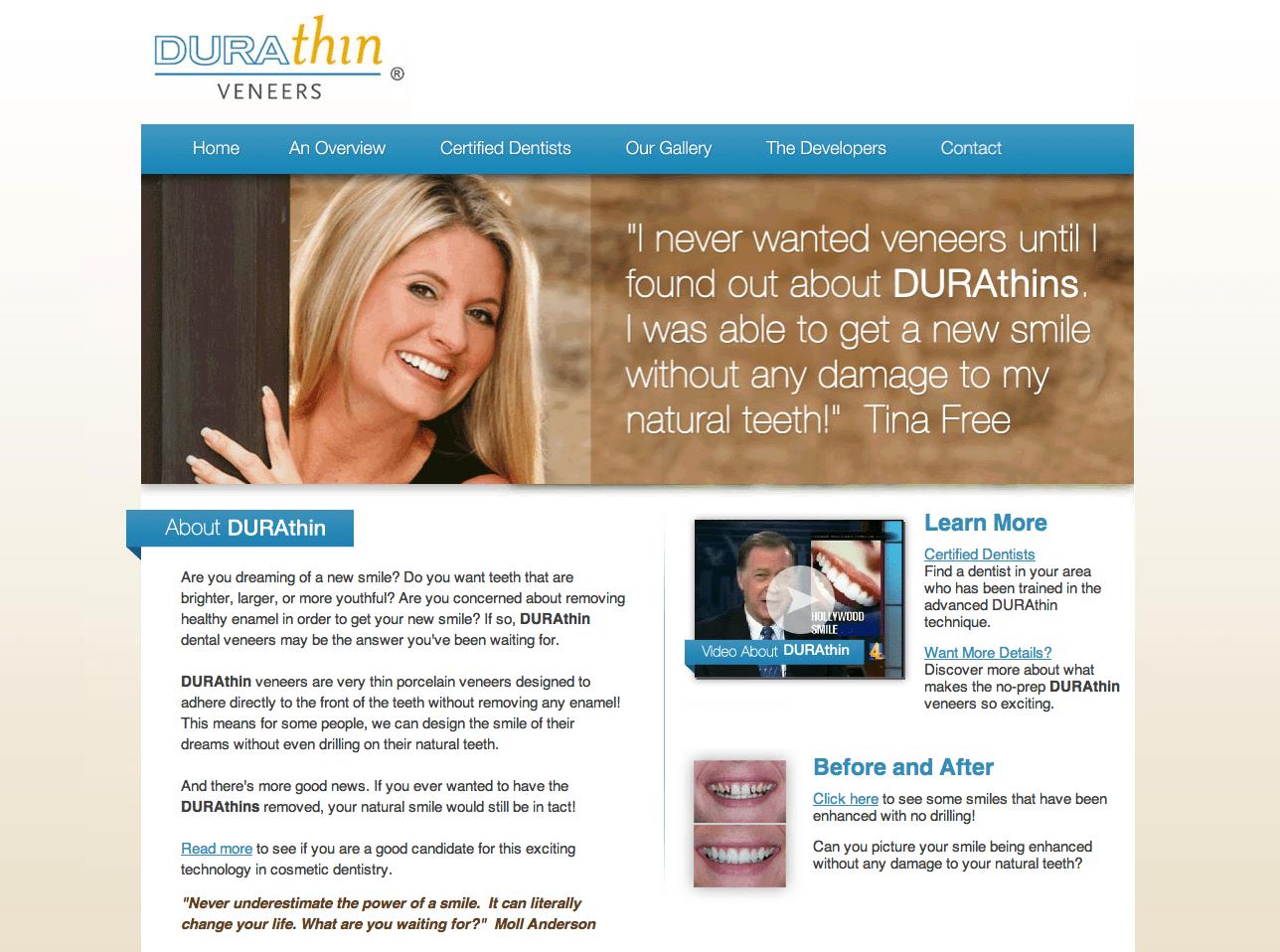 Durathin Veneers Website by Rimshot Creative
