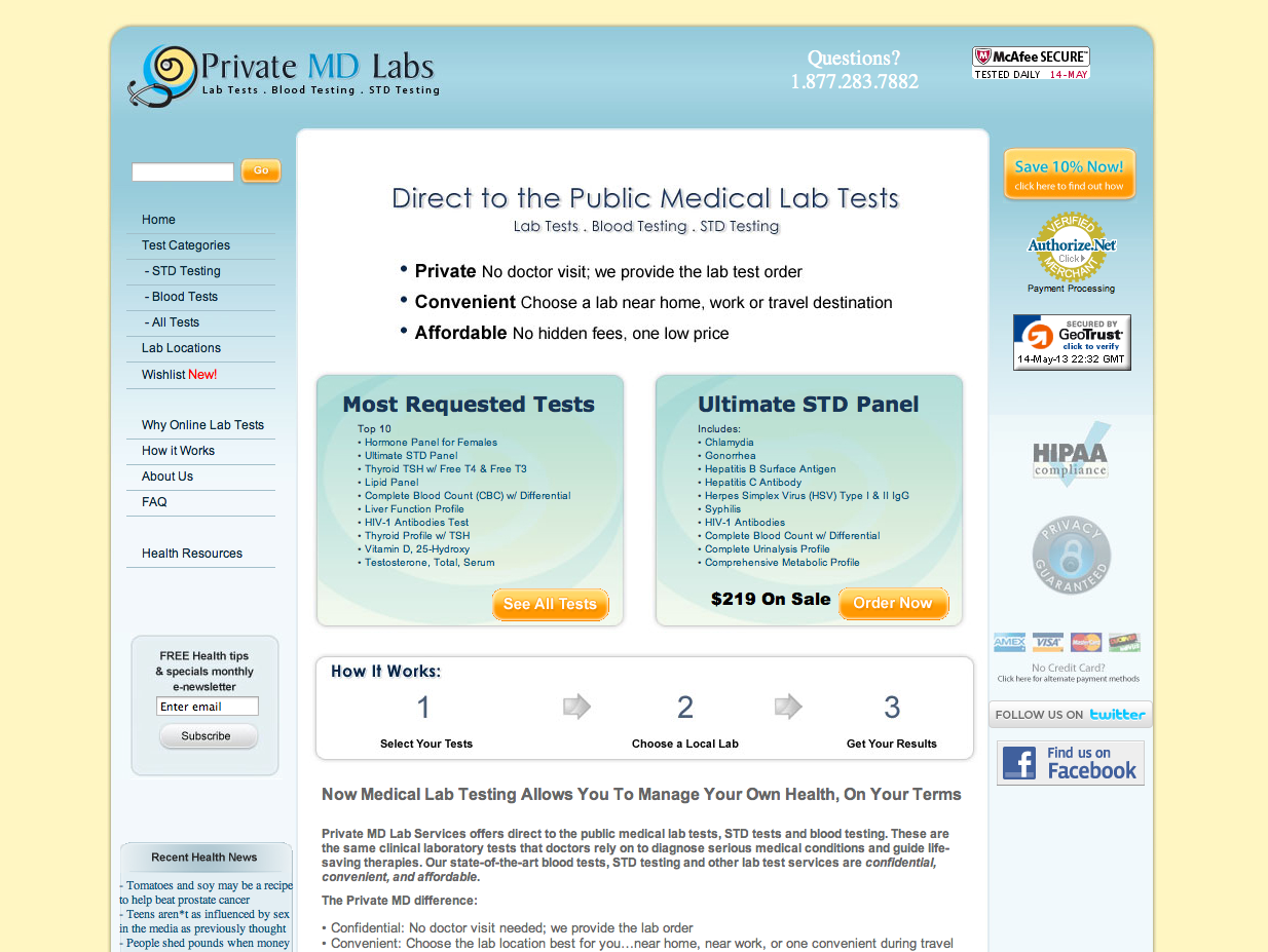 Private MD Labs website by Rimshot Creative