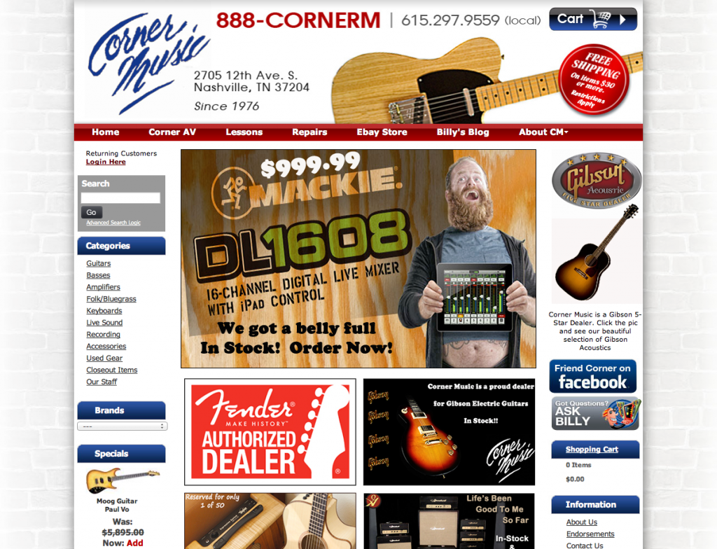 Corner Music e-commerce site by Rimshot Creative