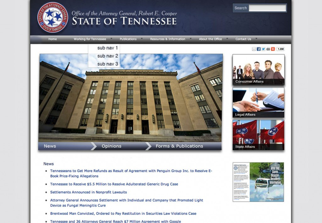Office of the Attorney General, Robert E. Cooper, State of Tennessee Website