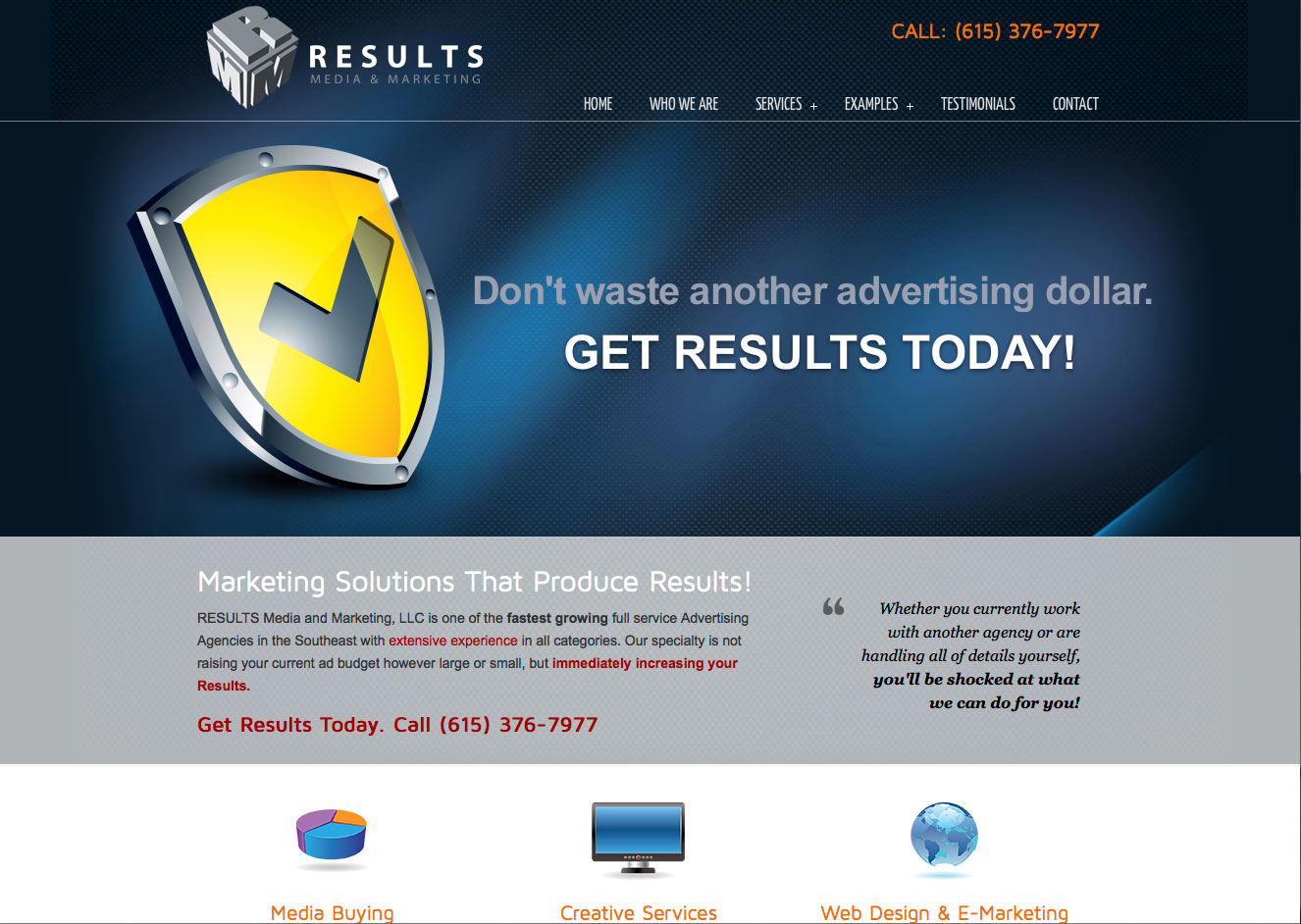 Results Media Website Design
