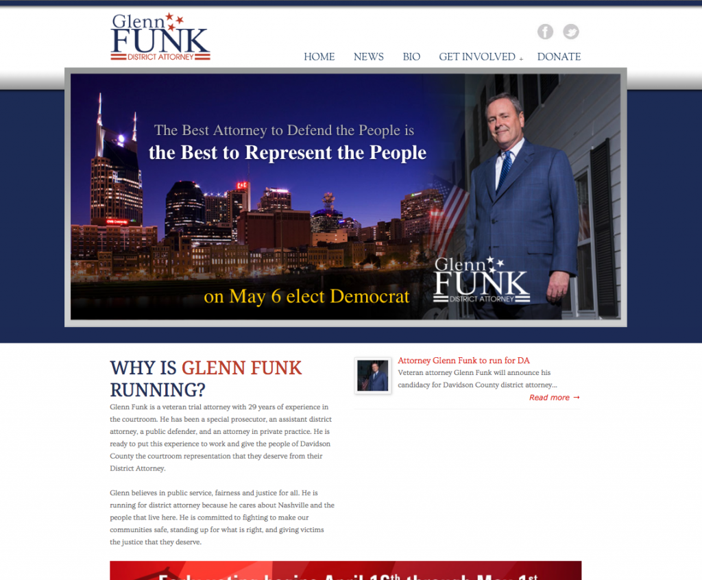 Vote Glenn Funk for District Attorney Website by Rimshot Creative