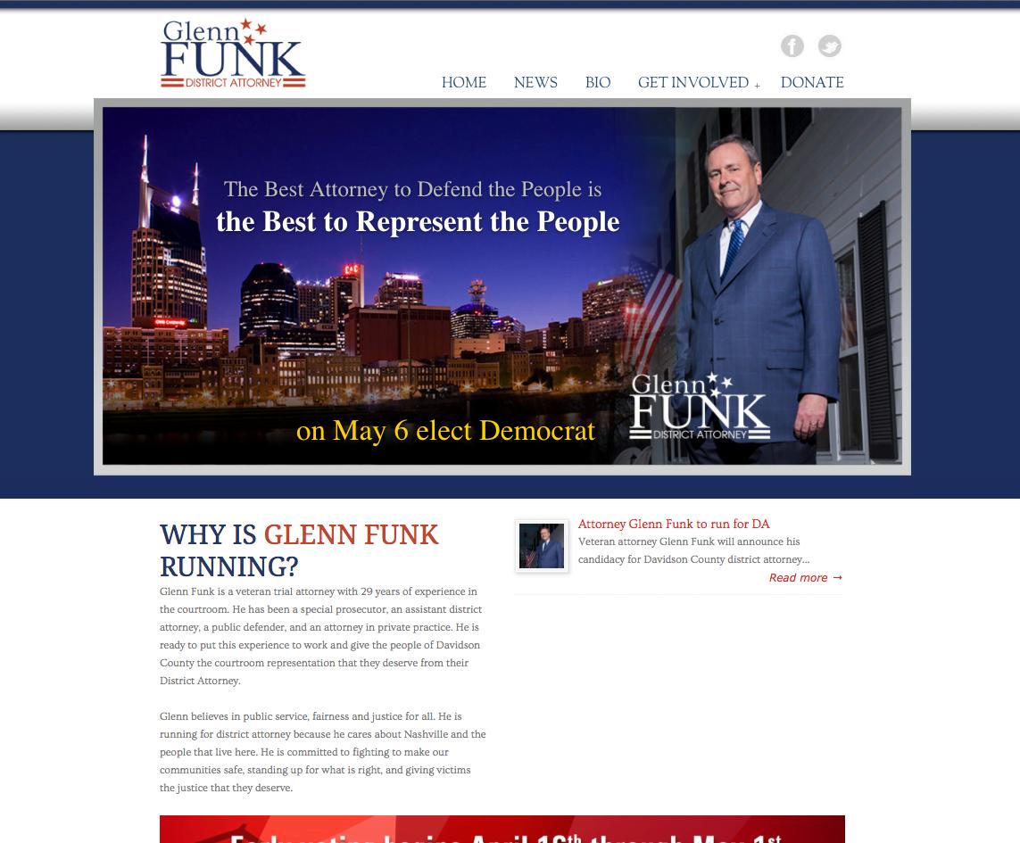 Vote Glenn Funk for District Attorney Website by Rimshot Creative