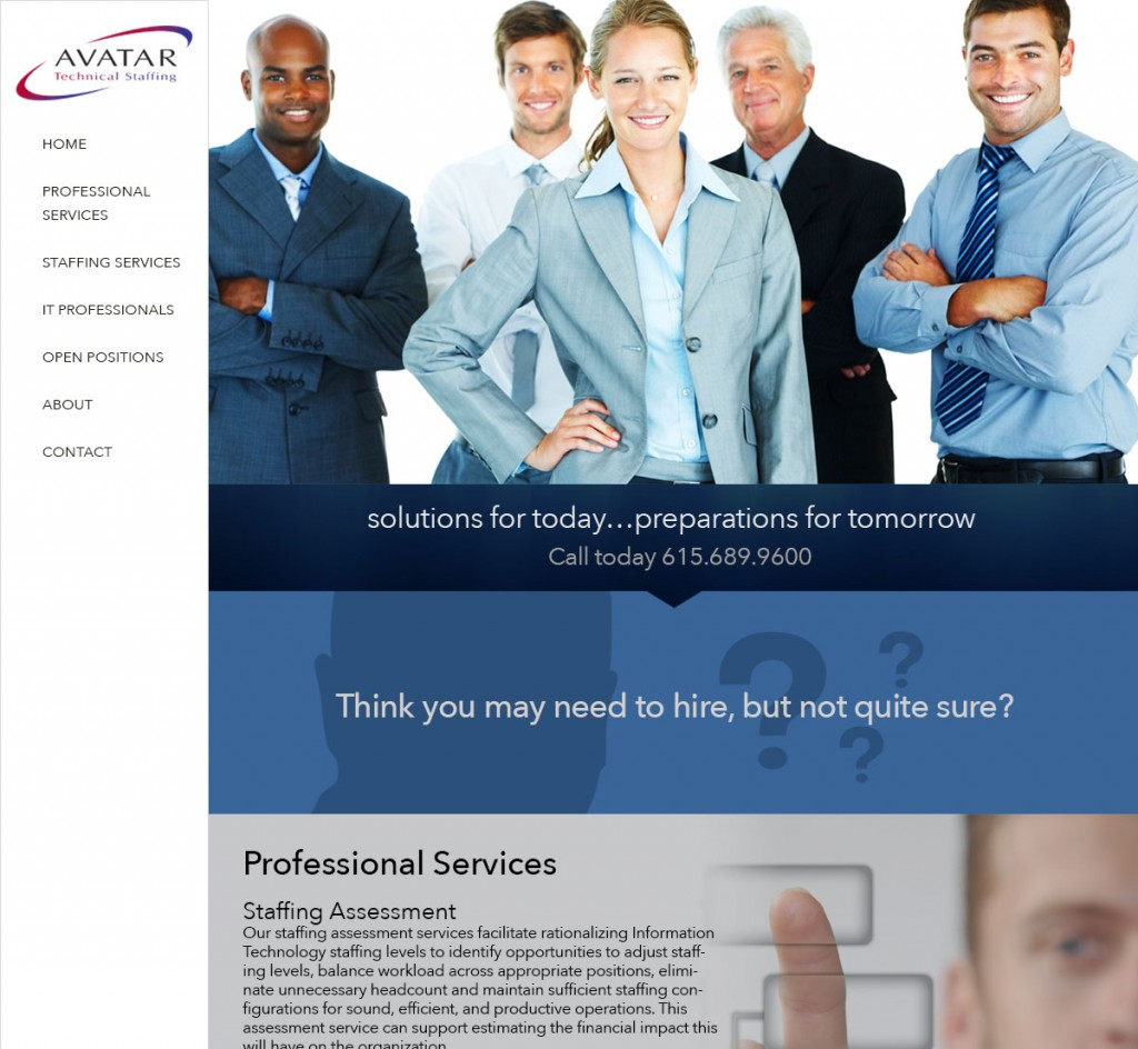 Avatar Technical Staffing Website design by Rimshot Creative, Columbia TN, Spring Hill TN