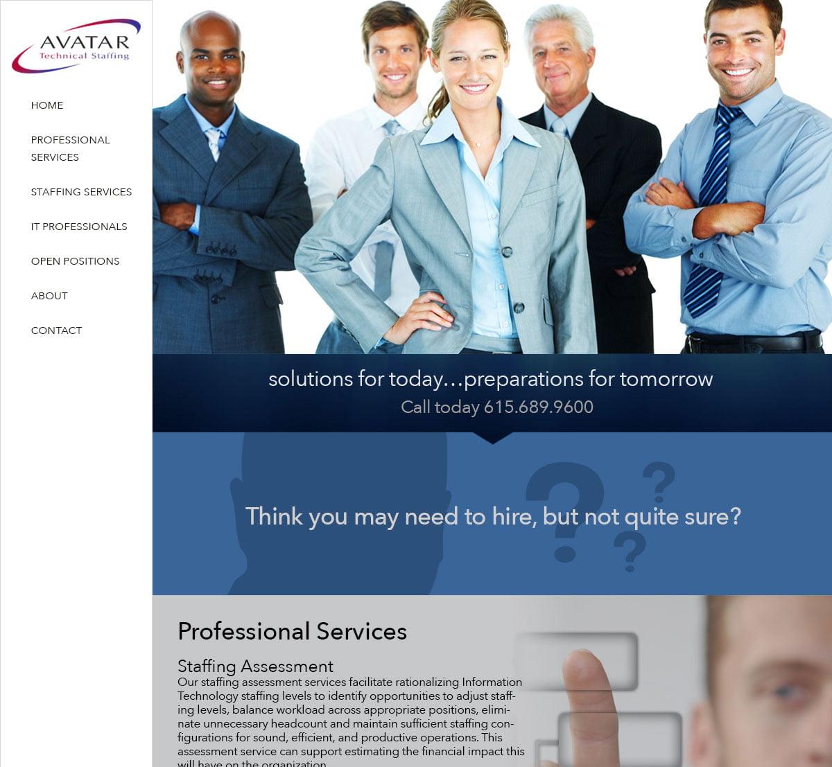 Avatar Technical Staffing Website design by Rimshot Creative, Columbia TN, Spring Hill TN