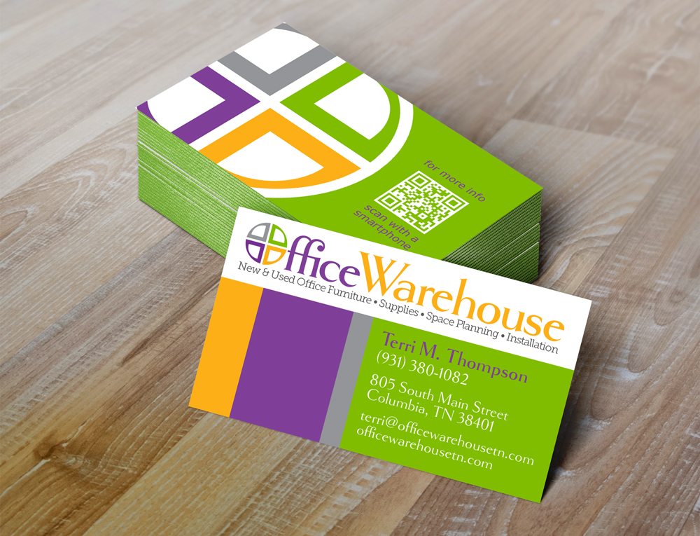 Office Warehouse business cards by Rimshot Creative in Columbia TN