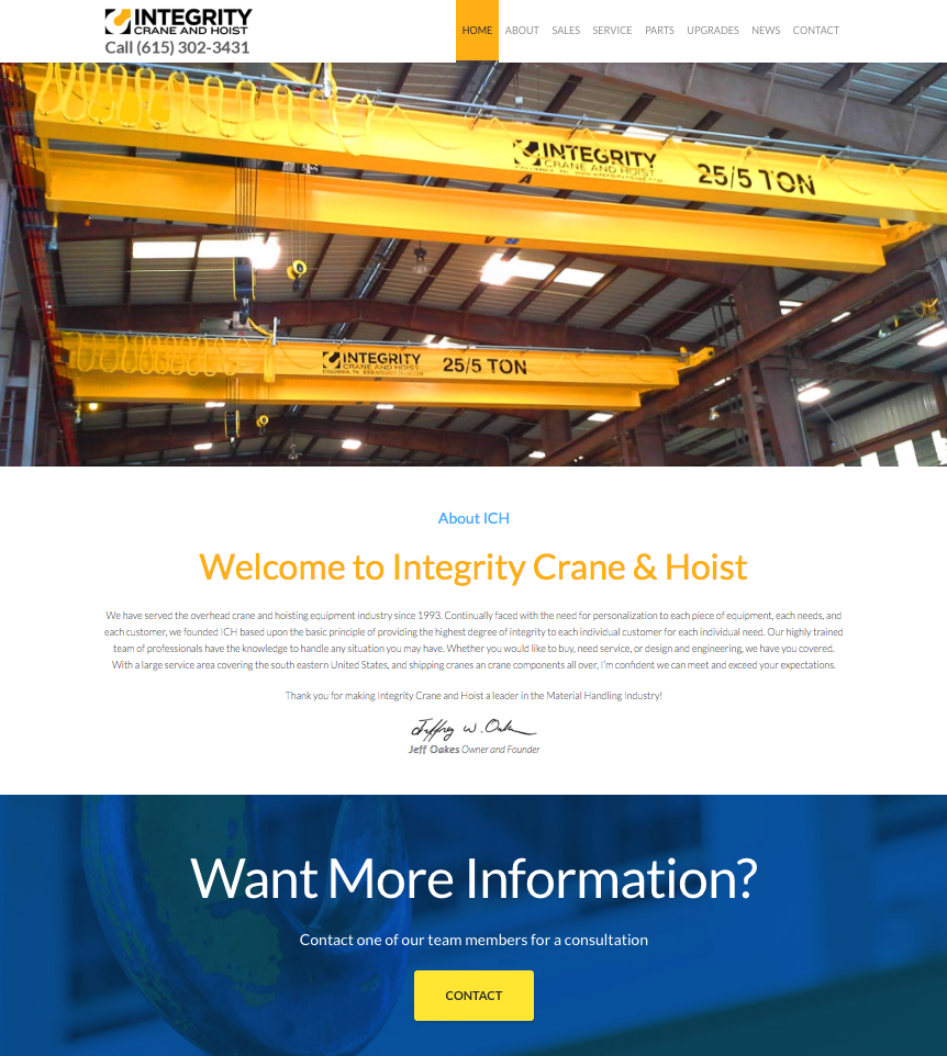 Integrity Crane and Hoist Website