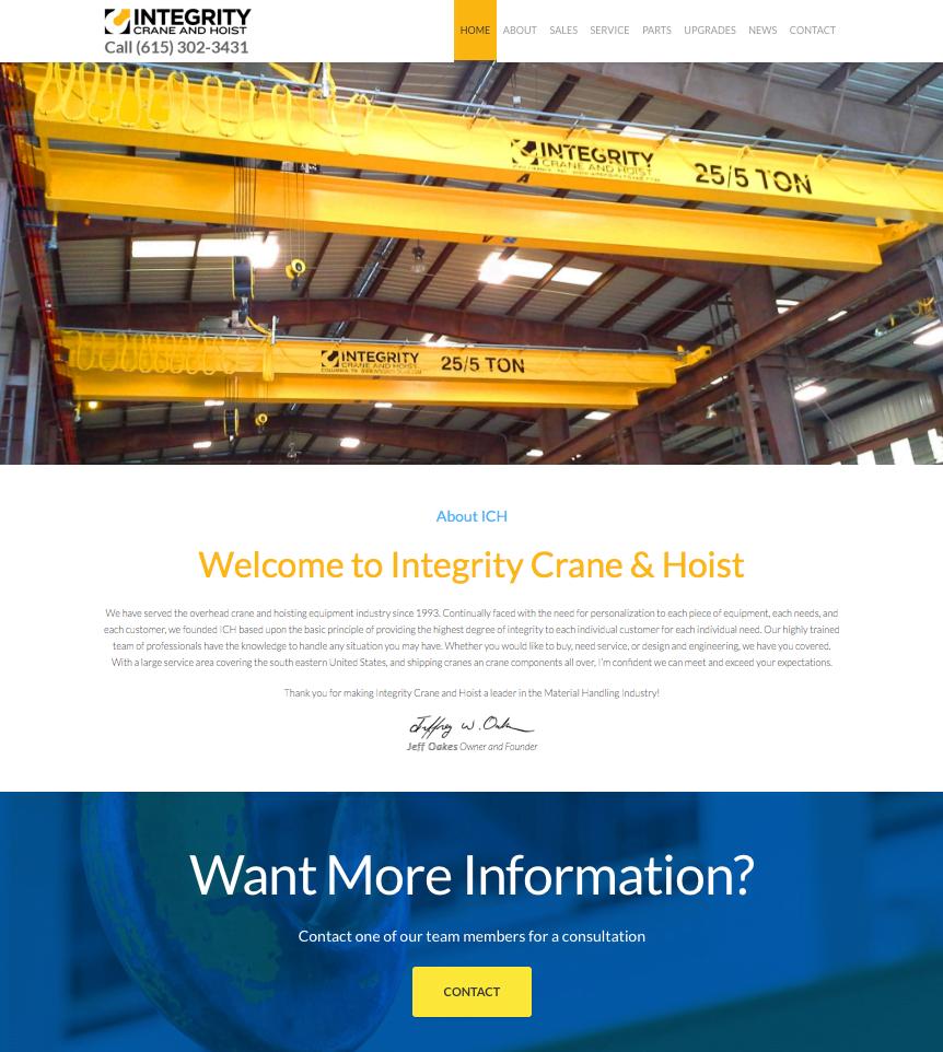 Integrity Crane and Hoist Website